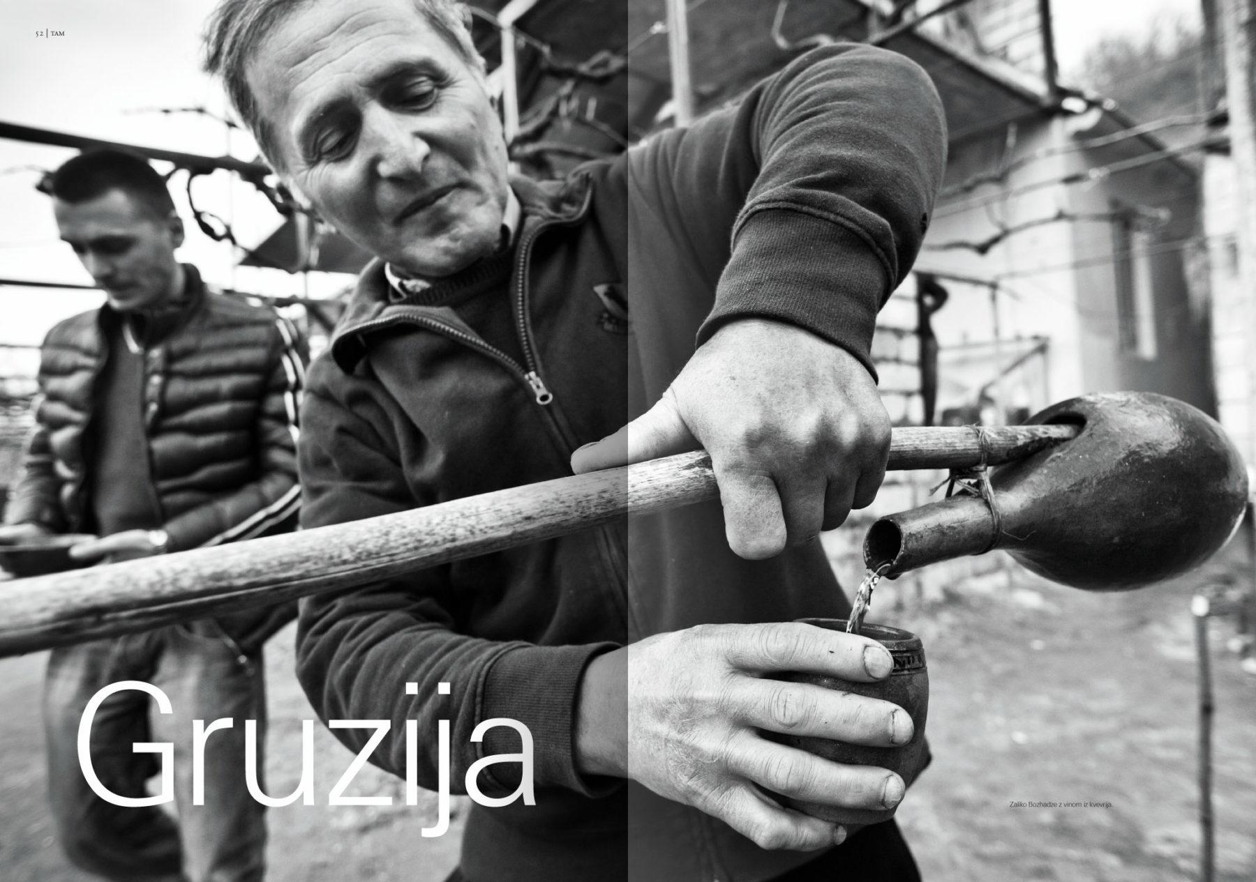 Revija Vino, poletje 2014strani 52 in 53 - uvodne strani članka Gruzija· Naročnik: Revija Vino · Fotografija za članek: Marijan Močivnik · 2014 ·