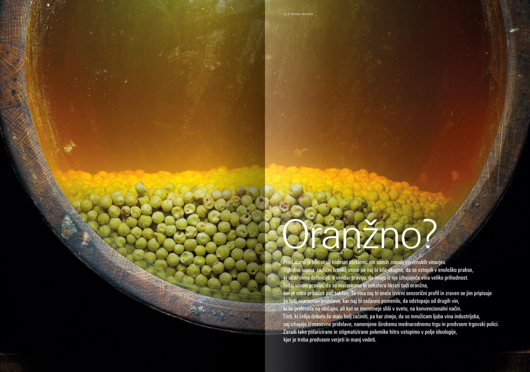 Revija Vino, jesen 2014strani 28 in 29 - uvodne strani članka Oranžno· Naročnik: Revija Vino · Fotografija za članek: Marijan Močivnik · 2014 ·