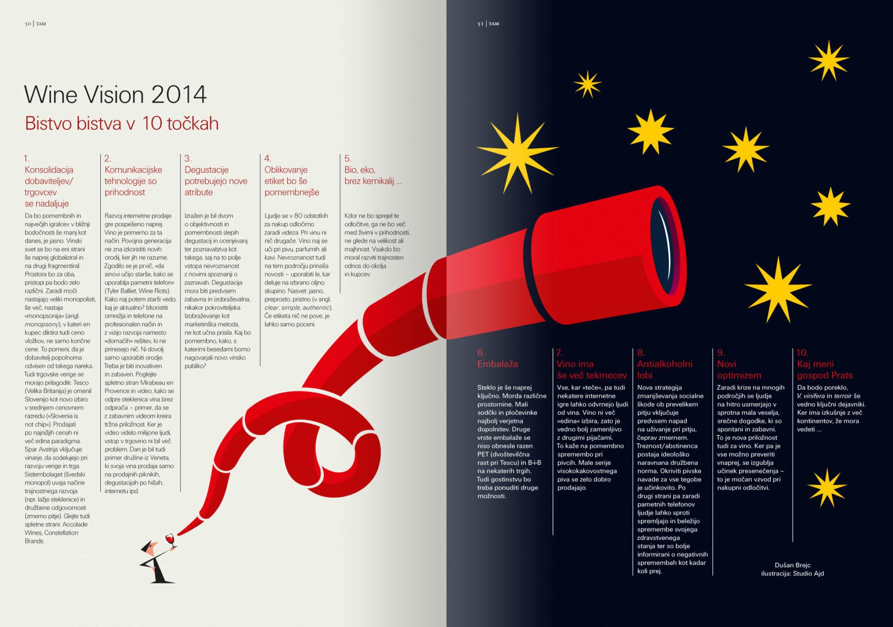 Revija Vino, zima 2014, strani 50 in 51. Ilustracija za članek Wine Vision 2014 · Naročnik: Revija Vino · Ilustracija: Marijan Močivnik · 2014 ·