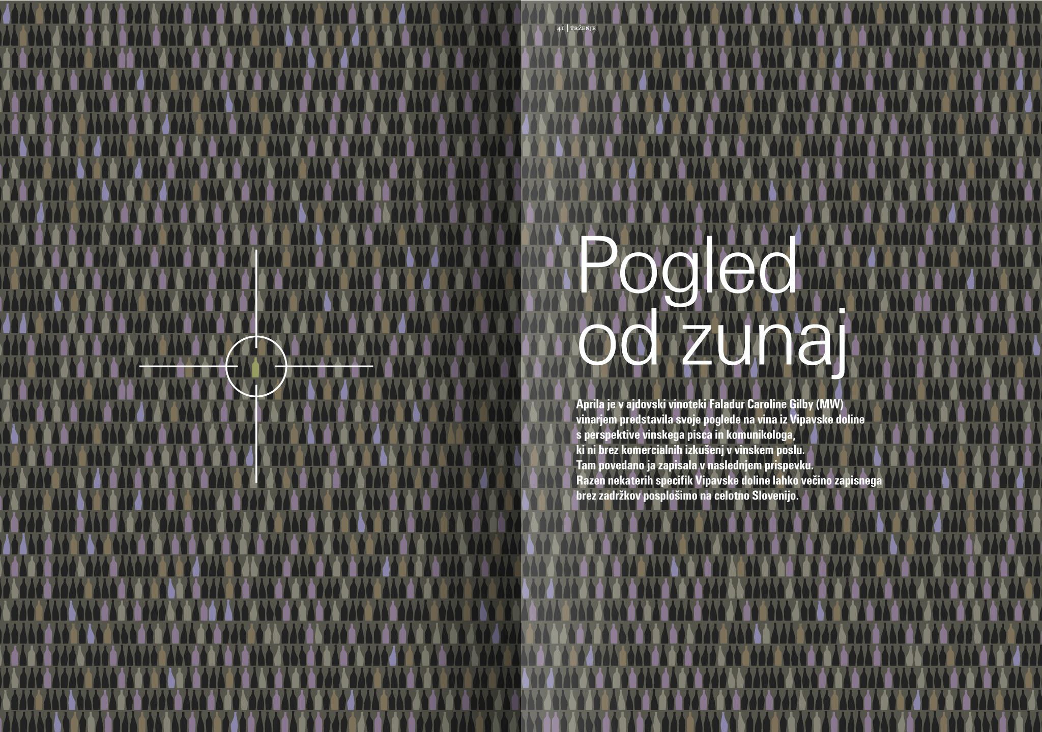 Revija Vino, poletje 2015, strani 40 in 41 - uvodne strani članka Pogled od zunaj · Naročnik: Revija Vino · Ilustracija: Marijan Močivnik · 2015 ·