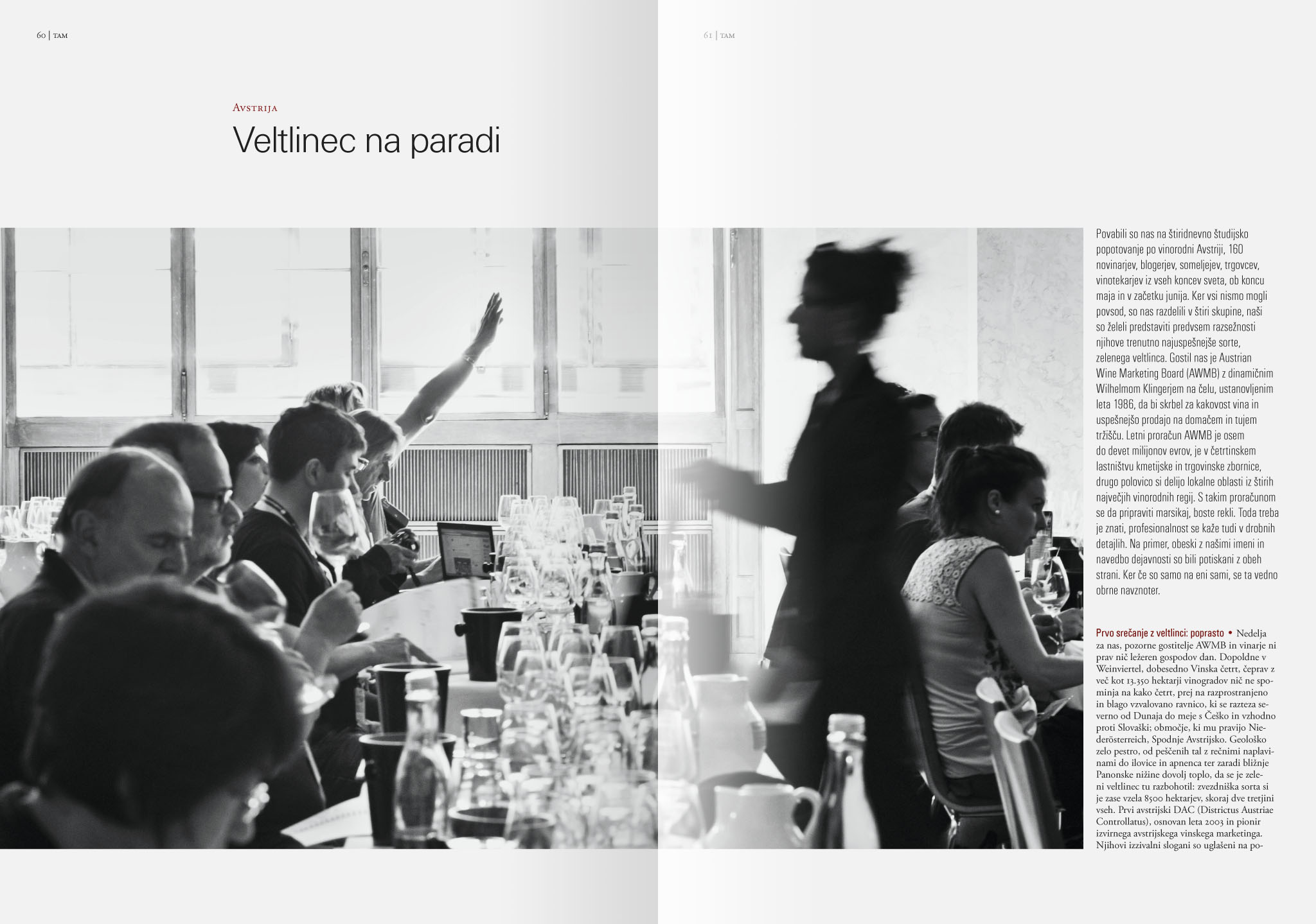 Revija Vino, poletje 2015strani 60 in 61 - uvodne strani članka Veltlinec na paradi· Naročnik: Revija Vino · Fotografija za članek: Marijan Močivnik · 2015 ·