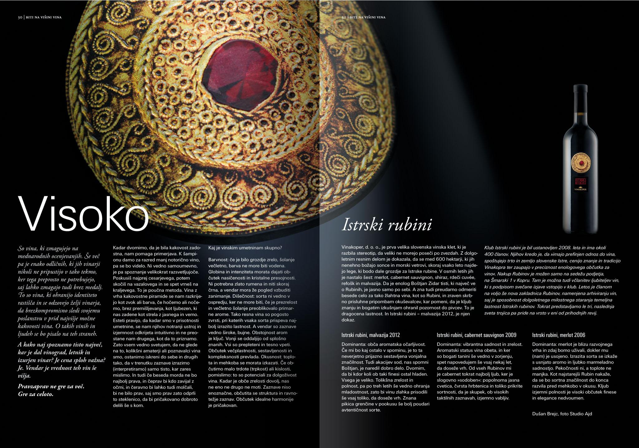 Revija Vino, pomlad 2015strani 31 in 31 - članek Visoko· Naročnik: Revija Vino · Fotografija za članek: Marijan Močivnik · Fotografija steklenice: Primož Brankovič · 2015 ·
