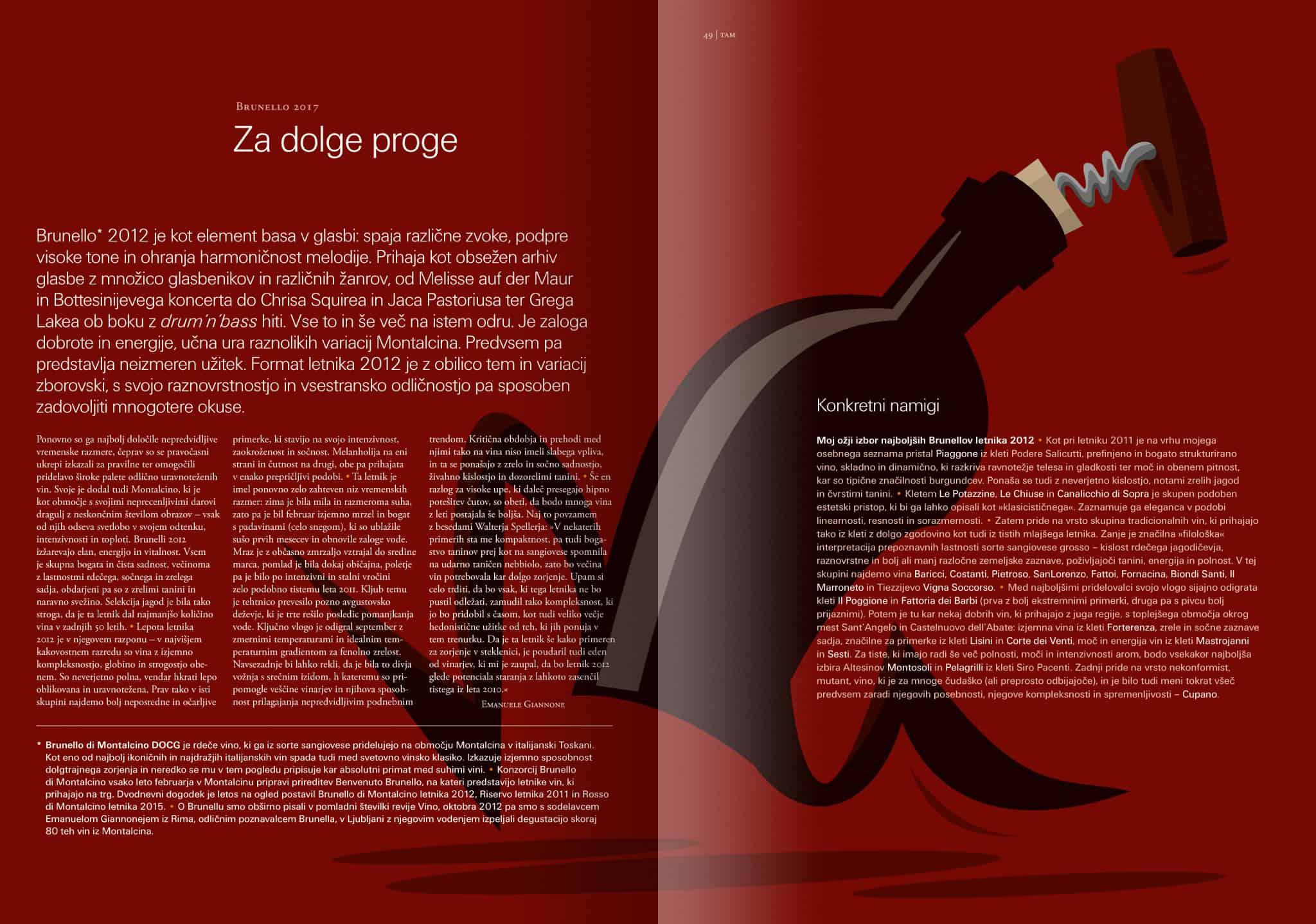Revija Vino, poletje 2017, strani 48 in 49 – članek Brunello 2017: Za dolge proge · Naročnik: Revija Vino · Ilustracija: Marijan Močivnik · 2017