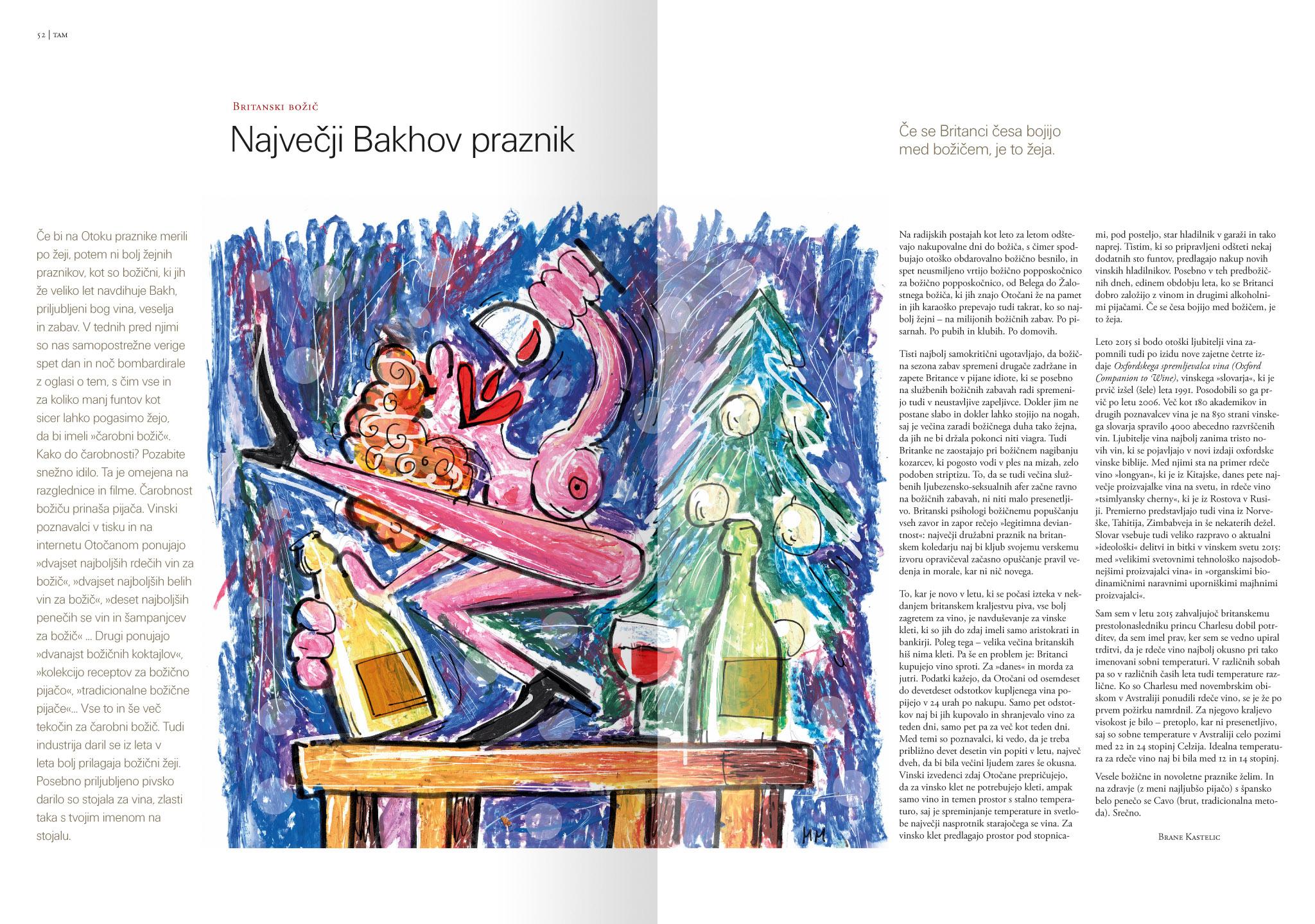 Revija Vino, zima 2015, strani 52 in 53. Ilustracija za članek. · Naročnik: Revija Vino · Ilustracija: Marijan Močivnik · 2015 ·