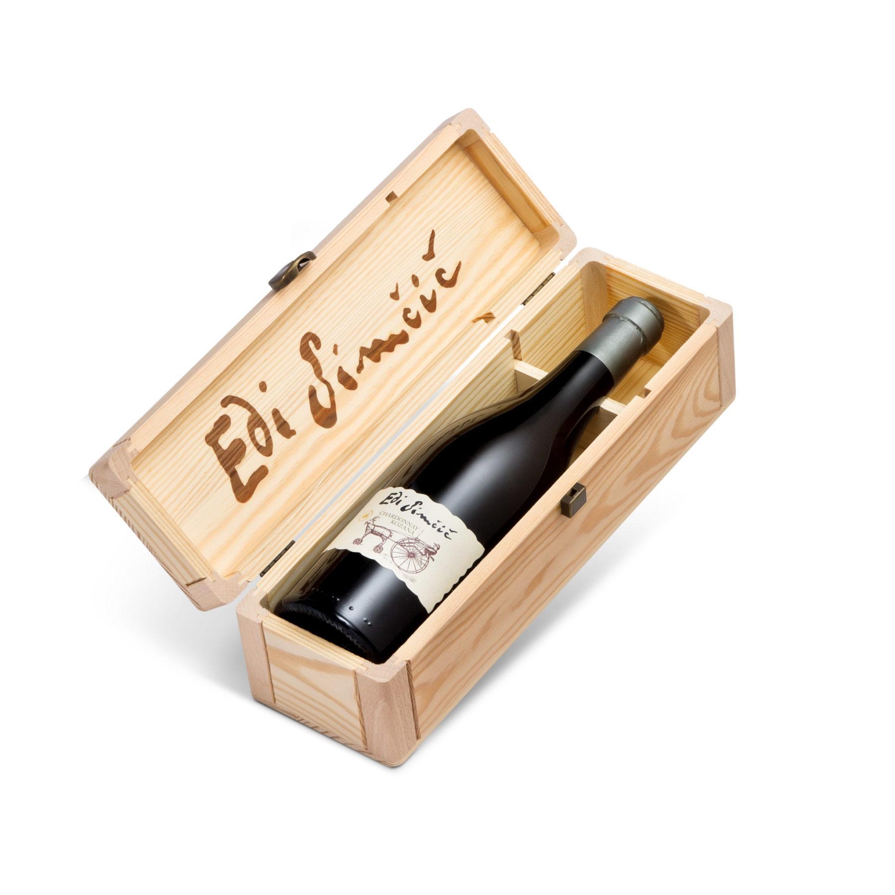 Edi Simčič · lesena škatla za steklenico 0,75 l