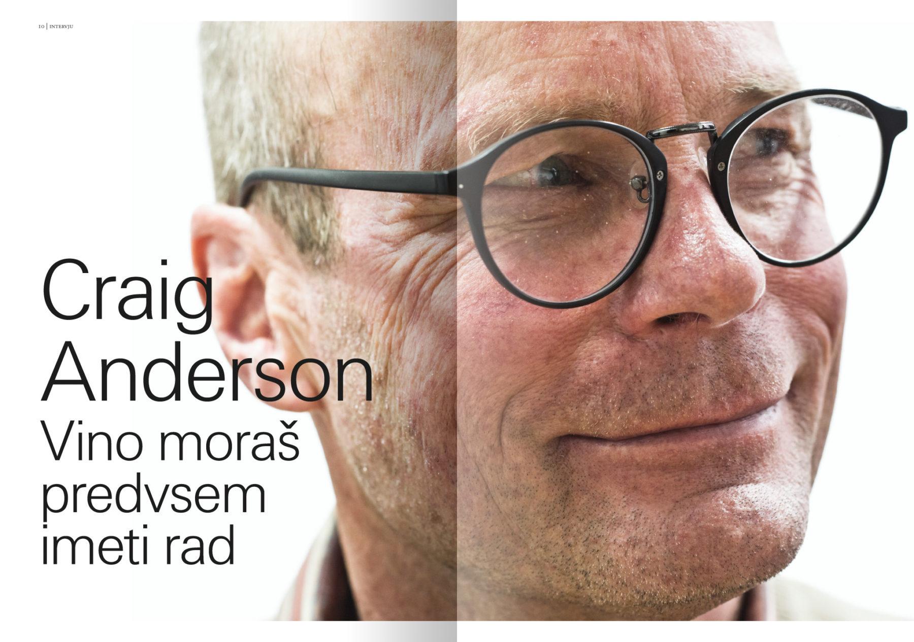Revija Vino, zima 2016 strani 10 in 11 – uvodne strani članka Craig Anderson (intervju s Craigom Andersonom) · Naročnik: Revija Vino · Fotografija za članek: Marijan Močivnik · 2016 ·