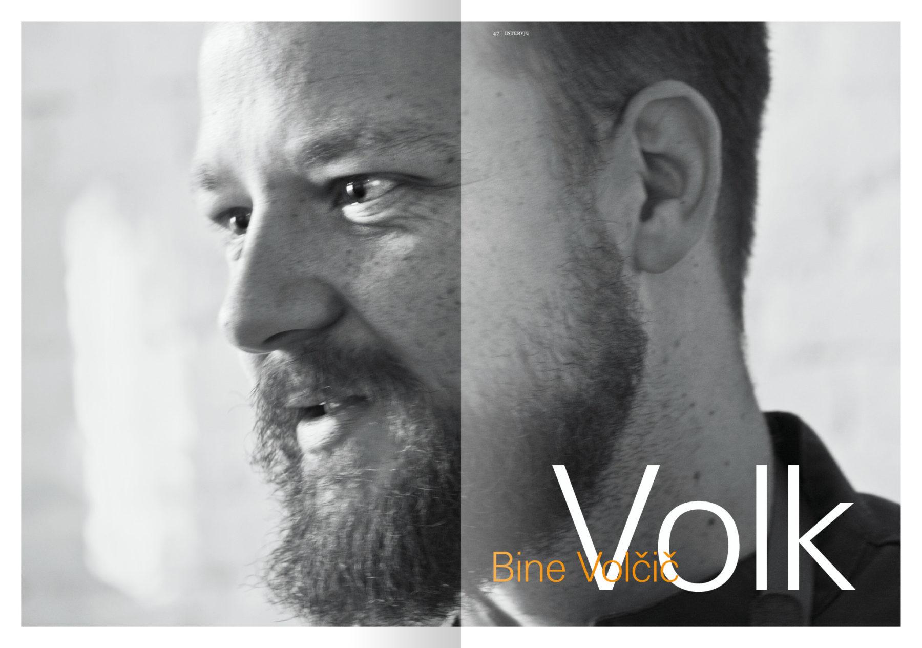Revija Vino, zima 2016 strani 46 in 47 – uvodne strani članka Volk (intervju z Binetom Volčičem) · Naročnik: Revija Vino · Fotografija za članek: Marijan Močivnik · 2016 ·