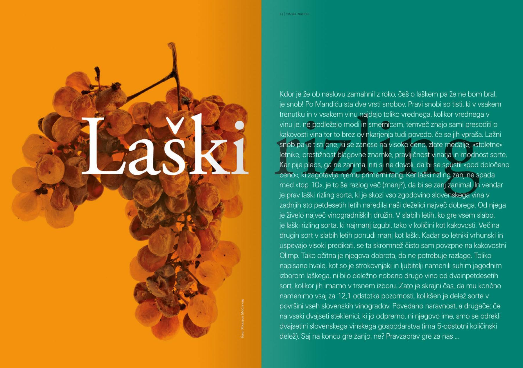 Revija Vino, poletje 2017 strani 24 in 25 – uvodne strani članka Laški rizling · Naročnik: Revija Vino · Fotografija za članek: Marijan Močivnik · 2006 ·