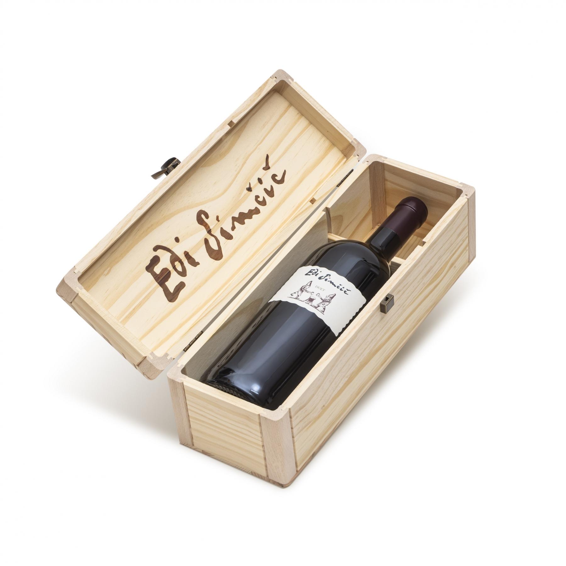 Edi Simčič · lesena škatla za steklenico 1,50 l