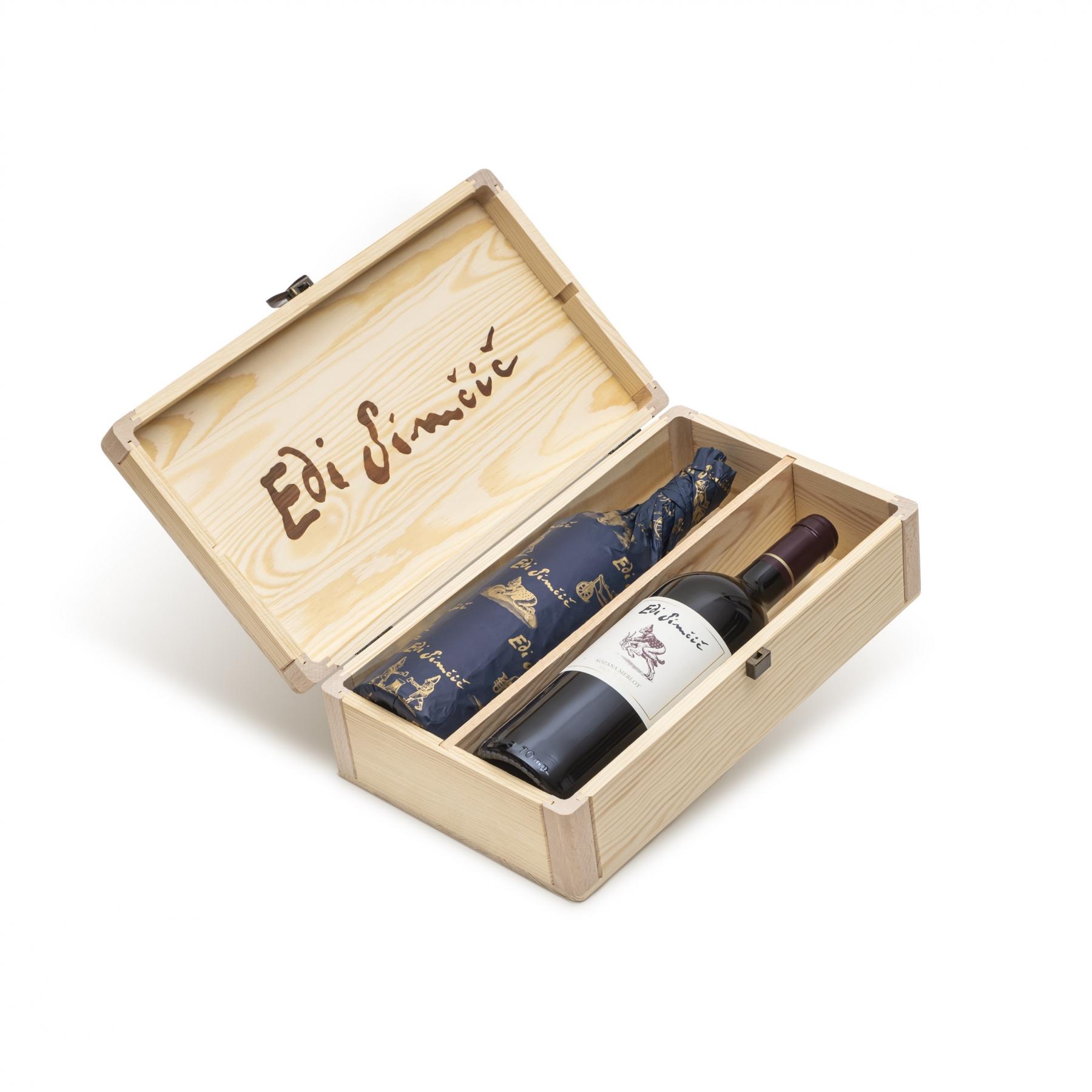 Edi Simčič · lesena škatla za 2 steklenici po 0,75 l