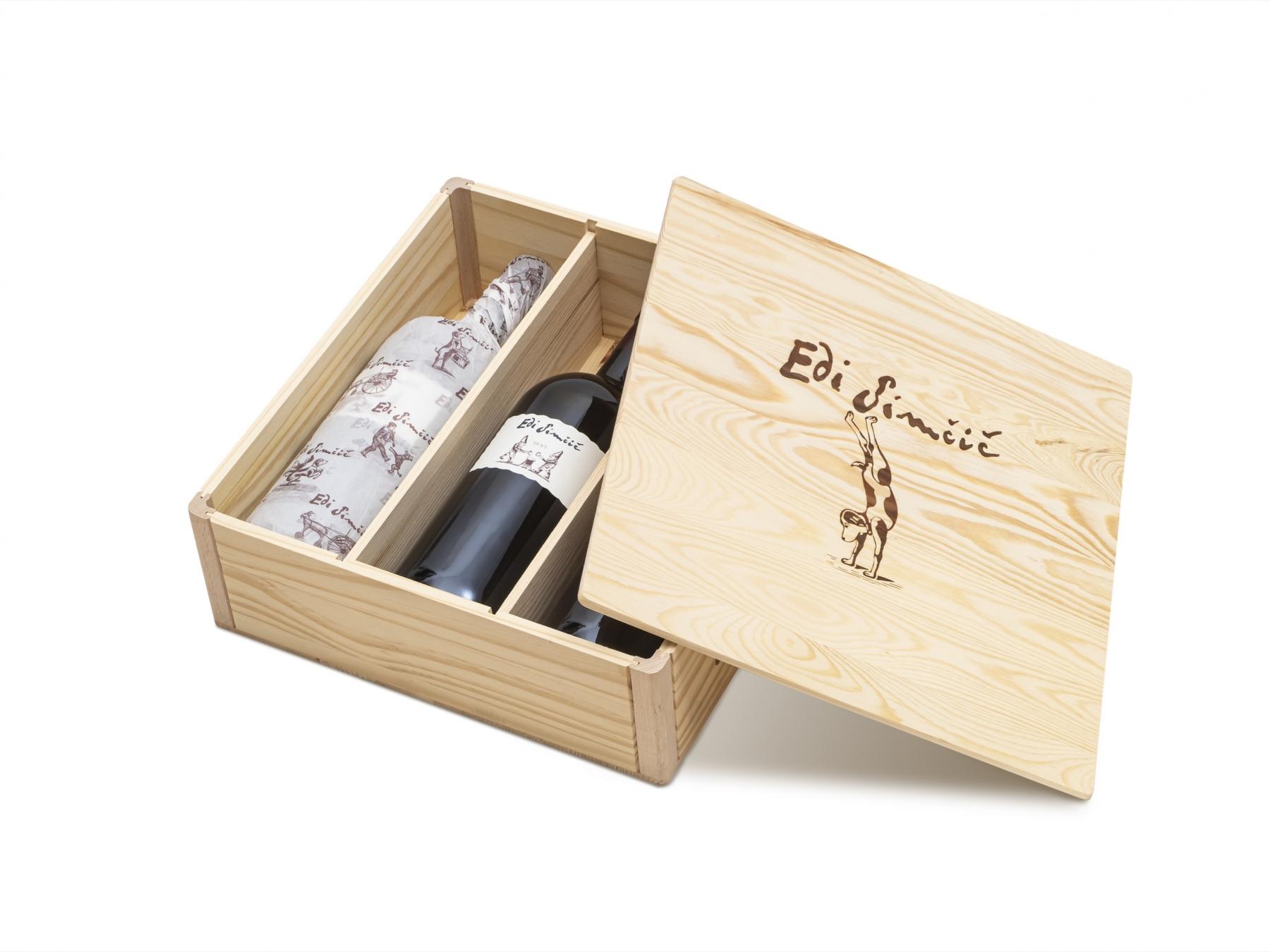 Edi Simčič · lesena škatla za 3 steklenice po 1,50 l