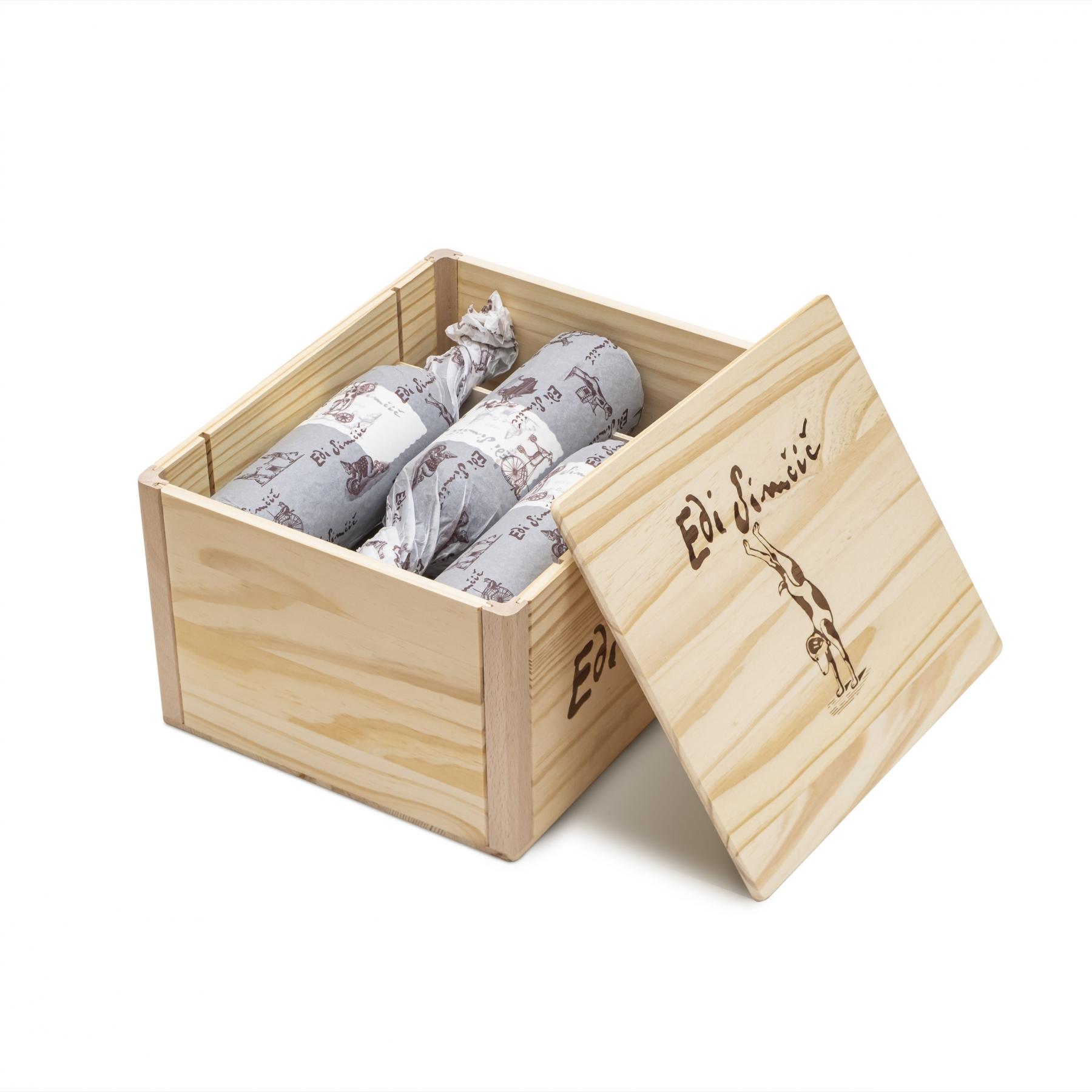 Edi Simčič · lesena škatla za 6 steklenic po 0,75 l